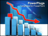 PowerPoint Template - 3D render of a bar chart showing falling profits