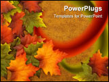 PowerPoint Template - Fall coloured leaves making a border on a brown background Fall Leaves