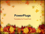 PowerPoint Template - hotoshop composition of colorful fall flowers for Halloween or Thanksgiving frame or border with co
