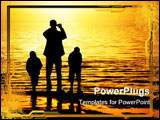 PowerPoint Template - Silhouettes of father and two sons by the ocean looking to the sunset
