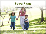 PowerPoint Template - Portrait of Families sat smiling in park