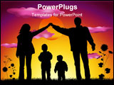 PowerPoint Template - family with two children making house silhouette