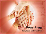 PowerPoint Template - Several children hands together on white background