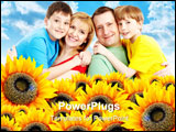 PowerPoint Template -  beautiful yellow sunflower field with bright blue clouds in the sky. Add your text to the copyspac
