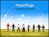 PowerPoint Template - al group of friends holding hands outdoors in a park on a beautiful day