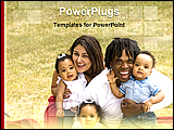 PowerPoint Template - 3 babies with their parents