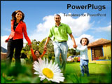 PowerPoint Template - happy family having fun outdoors at home on a sunny day