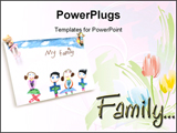 PowerPoint Template - A drawing of a family of four on white with copy space.
