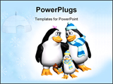 PowerPoint Template - enguin parents looking all lovely dovey at each other. baby penguin has pacifier in beak and holdin