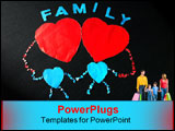 PowerPoint Template - a happy family were created by tearing paper