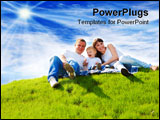 PowerPoint Template - Beautiful cheerful family sitting on the green hill