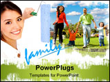 PowerPoint Template - beautiful woman painting a family with a roller - isolated over a white background