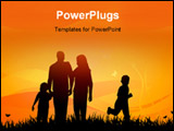 PowerPoint Template - A couple with their two children on a fieled at sunset