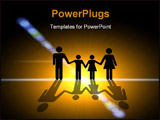 PowerPoint Template - n the light. Family silhouette in the center of the light