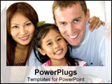 PowerPoint Template - Asian-American family smiles together.