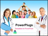 PowerPoint Template - Smiling family medical doctors and young families. Over white background