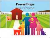 PowerPoint Template - appy family including a tiny baby and even a dog and cat stand together in front of their newly pur