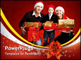 PowerPoint Template - solated studio shot of happy young family of three wearing smart casual clothes and Santa