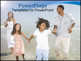 PowerPoint Template - Father and Mother playing on the beach with family