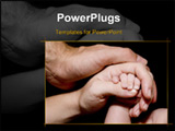 PowerPoint Template - a newborn baby hand is held by his mother and father
