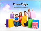 PowerPoint Template - mage of happy parents and their two sons sitting in studio with shopping bags near by
