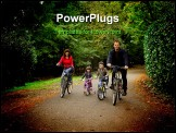 PowerPoint Template - Smiling family riding bicycles in a park