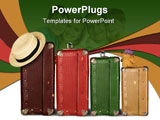 PowerPoint Template - Four Suitcases with Summer Hat and Cuddly Bunny