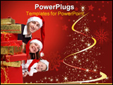 PowerPoint Template - solated studio shot of happy young family of three wearing Santa�s hats with a lot of Christmas pre