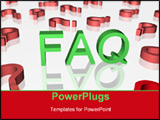 PowerPoint Template - FAQ sign with red question signs. Objects on far background slight blurred.