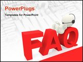PowerPoint Template - 3D customer support operator of FAQ - isolated over white