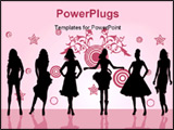 PowerPoint Template - fashion girls posing in front silhouette illustration