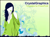 PowerPoint Template - Drawn image of girl in fashion top.