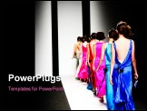 PowerPoint Template - Models on the catwalk during a fashion show.