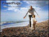PowerPoint Template - happy father and son playing on beach