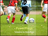 PowerPoint Template - players are playing football in a ground