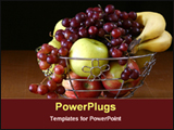 PowerPoint Template - fruits in boul and grapes spilling over boul