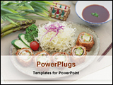 PowerPoint Template - Chinese vegetable food on a tray