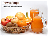 PowerPoint Template - fruits in a tray with juice in jug