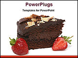 PowerPoint Template - chocolate cake with strawberry