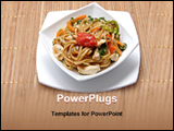 PowerPoint Template - a plate of chinese chowmein in a table