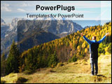 PowerPoint Template - man looking on the mountiansfeel freeslovenia europe