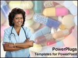 PowerPoint Template - Hispanic female doctor smiles.