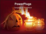 PowerPoint Template - Burning pumpkin. Shallow DOF