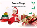 PowerPoint Template - A baby wearing a red dress and hat sits amongst a colorful array of gifts