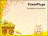 PowerPoint Template - Halloween or autumn background with wagon full of pumpkins and funky vines