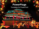 PowerPoint Template - chinese lantern- festival lit- up paper building