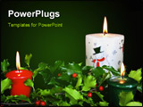 PowerPoint Template - Glowing candles in fresh seasonal holly on a black background.