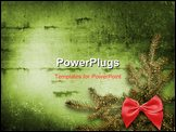 PowerPoint Template - Festive invitation or greeting with firtree and bow