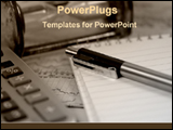 PowerPoint Template - pen with calculator and notepad