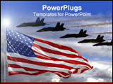 PowerPoint Template - Blue Angels and an American Flag in composite.